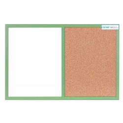 Magneticko-korková tabuľa v drevenom ráme - zelená WOOD (60x40 cm)