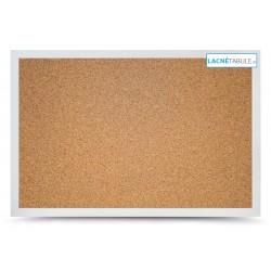 Korková tabuľa v dekoratívnom ráme - biely (60x40 cm)